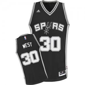 San Antonio Spurs #30 Adidas Road Noir Swingman Maillot d'équipe de NBA pour pas cher - David West pour Homme