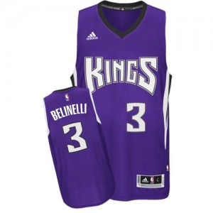 Maillot NBA Sacramento Kings #3 Marco Belinelli Violet Adidas Authentic Road - Homme