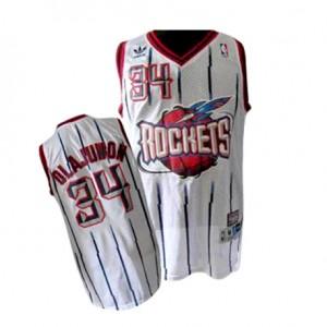 Houston Rockets Hakeem Olajuwon #34 Throwback Swingman Maillot d'équipe de NBA - Blanc pour Homme