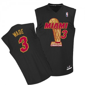 Maillot Adidas Noir Finals Champions Authentic Miami Heat - Dwyane Wade #3 - Homme