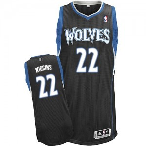 Minnesota Timberwolves #22 Adidas Alternate Noir Authentic Maillot d'équipe de NBA Braderie - Andrew Wiggins pour Homme