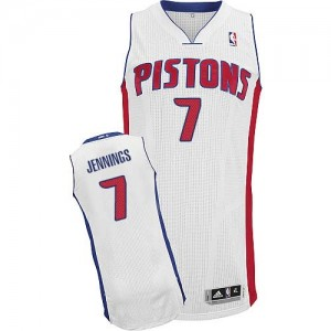 Maillot NBA Blanc Brandon Jennings #7 Detroit Pistons Home Authentic Homme Adidas