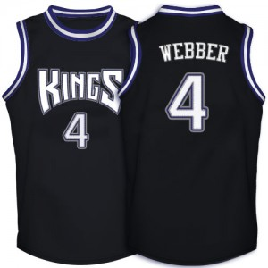 Sacramento Kings Chris Webber #4 Throwback Authentic Maillot d'équipe de NBA - Noir pour Homme