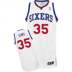 Maillot Adidas Blanc Home Authentic Philadelphia 76ers - Henry Sims #35 - Homme