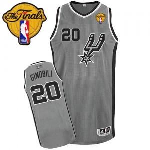 Maillot NBA Authentic Manu Ginobili #20 San Antonio Spurs Alternate Finals Patch Gris argenté - Homme
