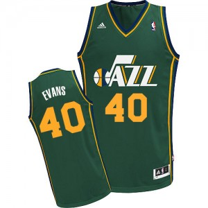 Maillot NBA Vert Jeremy Evans #40 Utah Jazz Alternate Swingman Homme Adidas