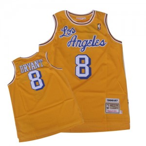 Maillot NBA Los Angeles Lakers #8 Kobe Bryant Or Mitchell and Ness Authentic Throwback Crabbed Letter - Homme