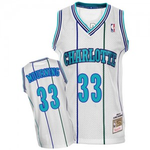 Maillot Mitchell and Ness Blanc Throwback Authentic Charlotte Hornets - Alonzo Mourning #33 - Homme