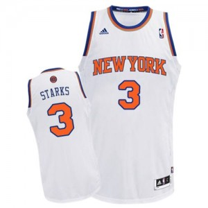 Maillot NBA Blanc John Starks #3 New York Knicks Home Swingman Homme Adidas