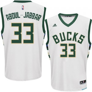 Maillot NBA Milwaukee Bucks #33 Kareem Abdul-Jabbar Blanc Adidas Authentic Home - Homme