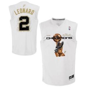 Maillot Adidas Blanc 2014 NBA Finals Champions Swingman San Antonio Spurs - Kawhi Leonard #2 - Homme