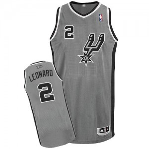 San Antonio Spurs Kawhi Leonard #2 Alternate Authentic Maillot d'équipe de NBA - Gris argenté pour Enfants