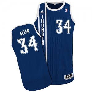 Oklahoma City Thunder #34 Adidas Alternate Bleu marin Authentic Maillot d'équipe de NBA Discount - Ray Allen pour Homme