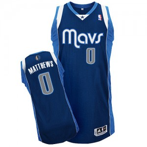 Dallas Mavericks Wesley Matthews #0 Alternate Authentic Maillot d'équipe de NBA - Bleu marin pour Homme