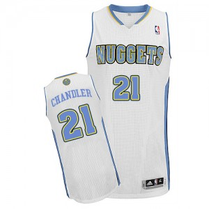 Maillot NBA Denver Nuggets #21 Wilson Chandler Blanc Adidas Authentic Home - Homme