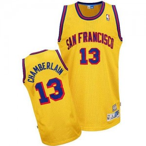 Golden State Warriors #13 Adidas Throwback San Francisco Or Authentic Maillot d'équipe de NBA Prix d'usine - Wilt Chamberlain pour Homme
