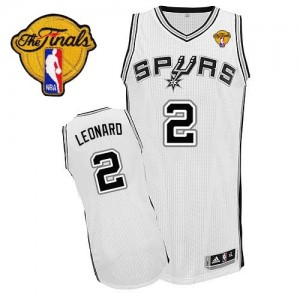 San Antonio Spurs Kawhi Leonard #2 Home Finals Patch Authentic Maillot d'équipe de NBA - Blanc pour Enfants