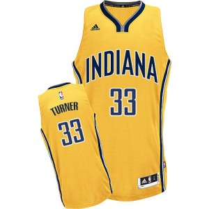 Maillot NBA Indiana Pacers #33 Myles Turner Or Adidas Swingman Alternate - Homme
