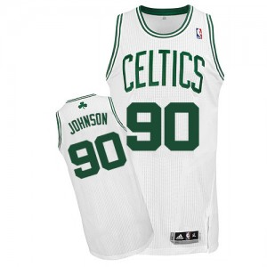 Maillot Adidas Blanc Home Authentic Boston Celtics - Amir Johnson #90 - Homme