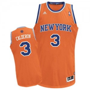 New York Knicks #3 Adidas Alternate Orange Swingman Maillot d'équipe de NBA à vendre - Jose Calderon pour Homme