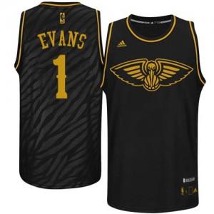 New Orleans Pelicans Tyreke Evans #1 Precious Metals Fashion Swingman Maillot d'équipe de NBA - Noir pour Homme