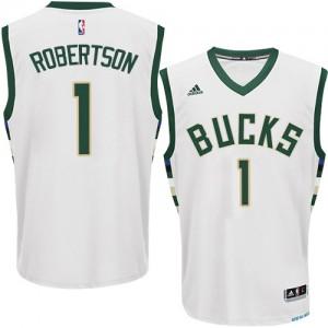 Maillot NBA Blanc Oscar Robertson #1 Milwaukee Bucks Home Authentic Homme Adidas