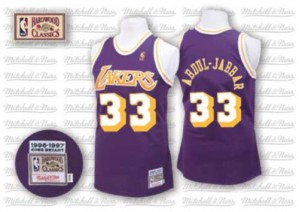 Maillot Authentic Los Angeles Lakers NBA Throwback Violet - #33 Kareem Abdul-Jabbar - Homme