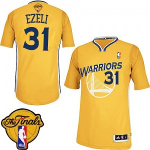 Maillot NBA Authentic Festus Ezeli #31 Golden State Warriors Alternate 2015 The Finals Patch Or - Homme