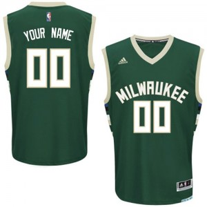 Maillot Adidas Vert Road Milwaukee Bucks - Swingman Personnalisé - Enfants