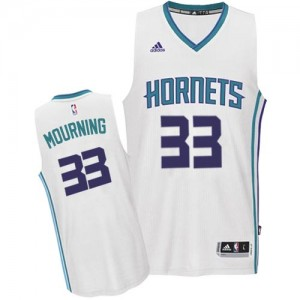 Maillot Adidas Blanc Home Swingman Charlotte Hornets - Alonzo Mourning #33 - Homme