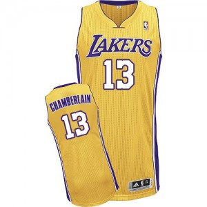 Maillot Adidas Or Home Authentic Los Angeles Lakers - Wilt Chamberlain #13 - Homme