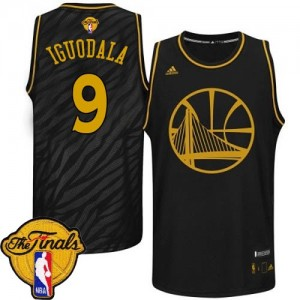 Golden State Warriors #9 Adidas Precious Metals Fashion 2015 The Finals Patch Noir Authentic Maillot d'équipe de NBA Promotions - Andre Iguodala pour Homme