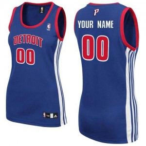Maillot NBA Bleu royal Authentic Personnalisé Detroit Pistons Road Femme Adidas