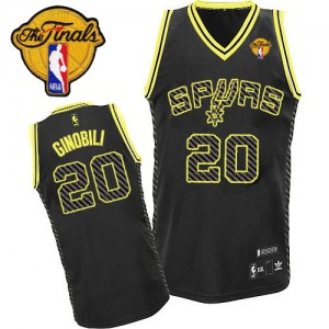 Maillot NBA Authentic Manu Ginobili #20 San Antonio Spurs Electricity Fashion Finals Patch Noir - Homme