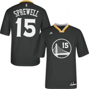 Golden State Warriors #15 Adidas Alternate Noir Swingman Maillot d'équipe de NBA Prix d'usine - Latrell Sprewell pour Homme