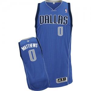 Dallas Mavericks Wesley Matthews #0 Road Authentic Maillot d'équipe de NBA - Bleu royal pour Enfants