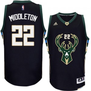 Maillot NBA Milwaukee Bucks #22 Khris Middleton Noir Adidas Authentic Alternate - Homme