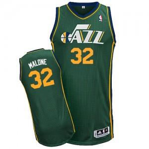 Maillot NBA Vert Karl Malone #32 Utah Jazz Alternate Authentic Homme Adidas