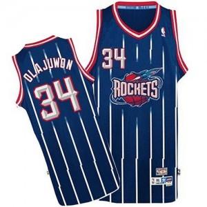 Maillot Adidas Bleu marin Throwback Authentic Houston Rockets - Hakeem Olajuwon #34 - Homme