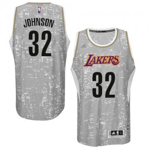 Maillot NBA Gris Magic Johnson #32 Los Angeles Lakers City Light Authentic Homme Adidas