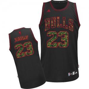 Chicago Bulls Michael Jordan #23 Fashion Swingman Maillot d'équipe de NBA - Camo noir pour Homme