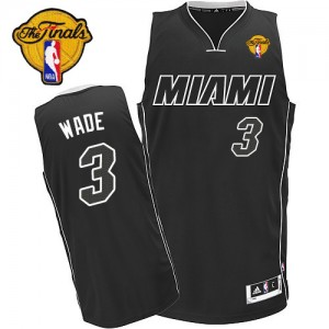 Miami Heat Dwyane Wade #3 Finals Patch Authentic Maillot d'équipe de NBA - Noir Blanc pour Homme