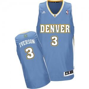 Denver Nuggets Allen Iverson #3 Road Swingman Maillot d'équipe de NBA - Bleu clair pour Homme