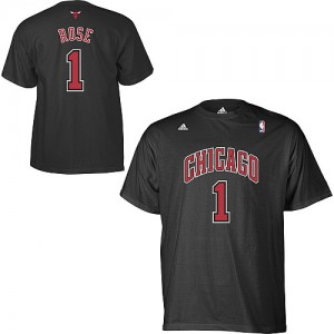 T-Shirt Chicago Bulls NBA Game Time Noir - #1 Derrick Rose - Homme