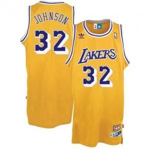 Los Angeles Lakers #32 Adidas Throwback Or Swingman Maillot d'équipe de NBA Remise - Magic Johnson pour Enfants