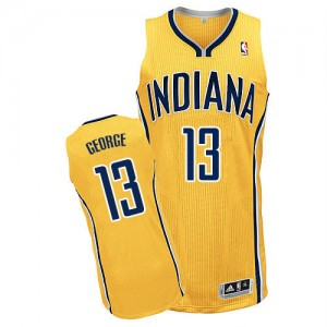 Maillot NBA Indiana Pacers #13 Paul George Or Adidas Authentic Alternate - Homme
