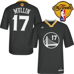 Maillot Adidas Noir Alternate 2015 The Finals Patch Authentic Golden State Warriors - Chris Mullin #17 - Homme