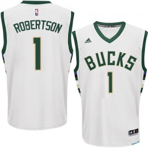 Maillot NBA Blanc Oscar Robertson #1 Milwaukee Bucks Home Swingman Homme Adidas