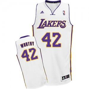 Los Angeles Lakers #42 Adidas Alternate Blanc Swingman Maillot d'équipe de NBA en soldes - James Worthy pour Homme