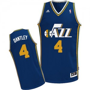 Maillot NBA Utah Jazz #4 Adrian Dantley Bleu marin Adidas Swingman Road - Homme
